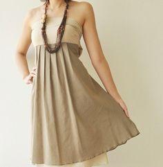 Khaki and brown two color bridesmaid dress -- perfect for safari wedding ideas