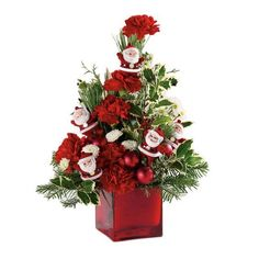 Christmas Flower Arrangement - Dancing Santas
