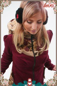 Kurzmäntel - Wintermantel 'Emilia' Cord Weinrot, Blüten - ein Designerstück von mydearlove bei DaWanda, mydearlove comfy coat