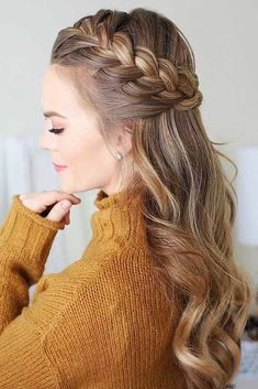 Half-Up Braided Hairstyles Halo #braids #half-up ❤️ Here you can find a lot of new ways of braiding your hair, just go on reading not to miss the best one. We have some beauty secrets to share with you. Check them out!  ❤️ See more: http://lovehairstyles.com/french-braid-hairstyles/ #lovehairstyles #hair #hairstyles #haircuts