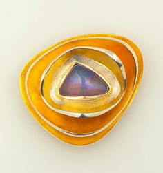 Opal Brooch by Shuang Feng: Gold, Silver & Stone Brooch available at www.artfulhome.com