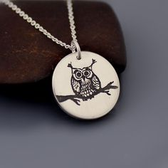 Sterling Silver Owl Necklace by Lisa Hopkins Design @ Bella Keller