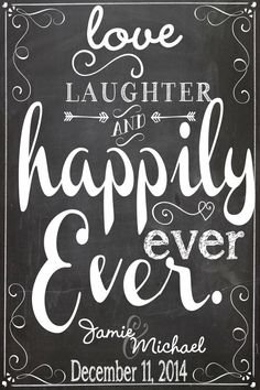 Love laughter & happily ever after sign by CustomPrintablesNY