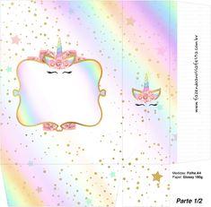 Unicorn and Rainbow: Free Printable Boxes. Printable Box, Girl Birthday Themes, Kids Party Themes, Baby Unicorn, Unicorn Party, Unicorn Printables, Free Printables, Unicorn Gift Bags, Box Invitations