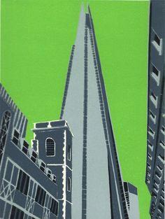 The Shard London, London Art, Buildings Artwork, London Painting, A Level Textiles, Stencil Printing, London Landmarks, Cityscape Art, Poster Design Inspiration