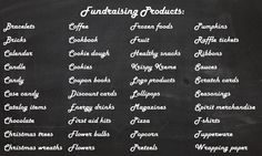 A long list of fundraising products for schools, youth groups, and sports teams