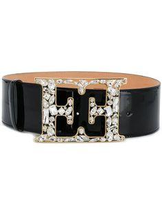 Escada Monogrammed Belt In Black Wide Leather Belt, Calf Leather, Black Leather, Designer Belts, Womens Fashion Online, Fashion Women, Fashion Trends, Wallet Chain, Belts For Women