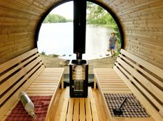 Barrel Sauna with Panorama glass wall made in Thermowood Sauna Seca, Barrel Sauna, Sauna Design, Steam Sauna, Outdoor Living, Outdoor Decor, Glamping, Woodworking, Backyard