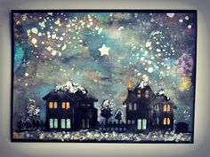 Lots of Distress Oxide Inks were used for thegalaxy background. I then cut out the houses in blackadding different colours for the lights and doors.Of course there is the snow falling and even added somefantasy snow to the rooftops, trees and ground.A bright star for the night sky andfinishing with attaching to black card base. Watercolour Challenge, March Month, Christmas Challenge, Distress Oxide Ink, Black Card, Rooftops, Bright Stars, Love Design, Night Skies