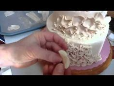 How to make 7 different styles of fondant ruffles on a cake  #caketutorial #cakedecorating #cakes Cake decorating tips and tricks. Cake decorating tutorials.
