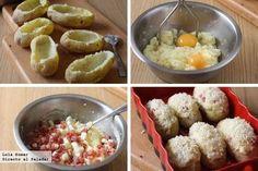 Patatas rellenas de jamón y queso paso a paso
