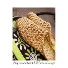 Raffia Slip-In Slippers Crochet Sandal pattern - Instant Download