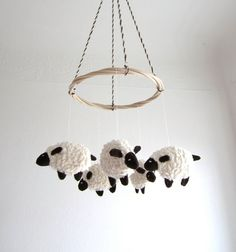 Baby mobile, sheep, lamb, nursery decor, baby gift, shower gift, white, brown, cosy, can be vegan on Etsy, $87.61 AUD