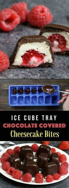 Ice Cube Tray Chocolate Covered Cheesecake Bites With Raspberries