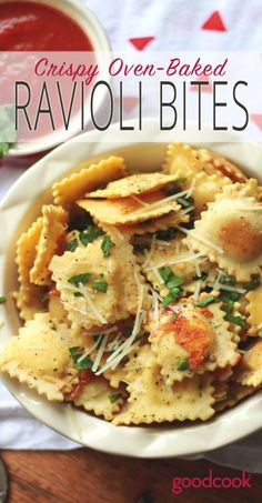 Easy and Fun Appetizer or Finger Food Dinner | Oven Baked Ravioli Bites | pasta, dinner, appetizer, kid friendly, recipe, cooking, recipes