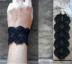 Crochet black lace bracelet//boho bracelet//black