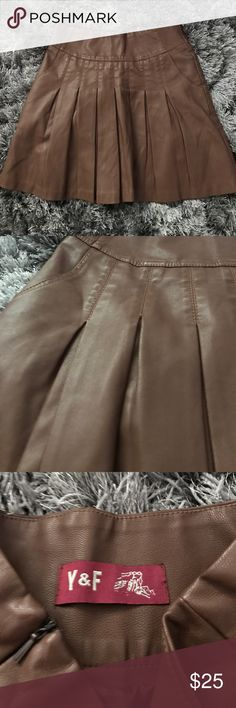 Brown pleather pleated mini skirt Cute Brown pleather pleated mini skirt, great condition NoT ASOS just for exposure! Asos Skirts Mini