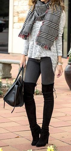 #fall #outfits ·  Striped Scarf // Grey Sweater // Skinyn Jeans // Black Knee Length Boots // Leather Tote Bag