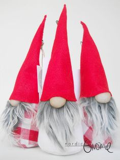JUNIOR Scandinavian Gnome Trio Tomten Nisse by NordicGnomeShop