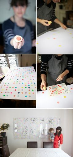 One of my favorite DIY projects from Potato Print Artwork Diy Artwork, Diy Wall Art, Artwork Prints, Potato Print, Potato Stamp, Auction Projects, Art Projects, Polka Dot Art, Polka Dots
