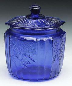 Cobalt Blue Glass Cookie Biscuit Jar Mayfair Rose Design