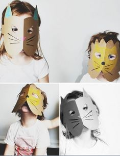 Simple And Cute DIY Cardstock Paper Animal Masks | Kidsomania