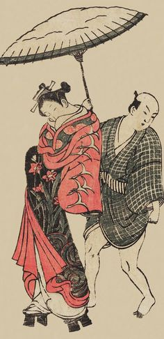 "thekimonogallery: ""Courtesan and Servant Walking in Snow"". Ukiyo-e woodblock print. About 1740's, Japan, by artist Okumura Masanobu."