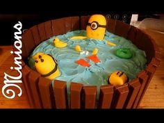 despicable me minion kitkat pool cakes   Repeat youtube video DESPICABLE ME MINION HOT TUB CAKE [KIT KAT CAKE]