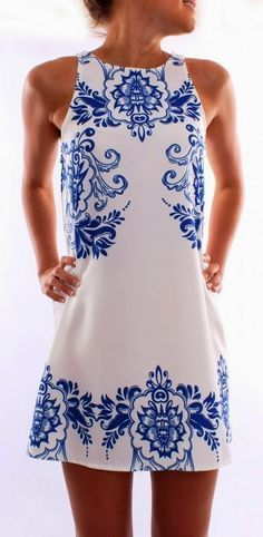 Jean Jail Blue White Printed Dress - so wish I could pull something like this off!!!