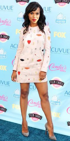 Teen Choice Awards 2013: Lea Michele and the Glee Cast Remember Cory Monteith, Plus What Everyone Wore - Kerry Washington from #InStyle