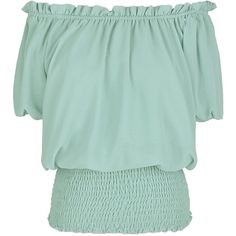 Anna-Kaci Womens Short Sleeve Ruffle Stretch Off Shoulder Boho Blouse... ($26) ❤ liked on Polyvore featuring tops, blouses, short-sleeve button-down shirts, green button down shirt, button up shirts, short sleeve button down shirts and short sleeve shirts