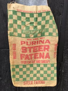 Vintage Burlap Feed Sack Purina Chows Green by AStringorTwo