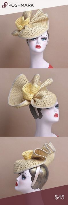 Ivory Tan Yellow Straw  Bridal Hat A beautiful choice for a wedding, church service, or a formal event.  Straw hat is attached to a satin headband with a quill for comfortable wear. Accessories Hats