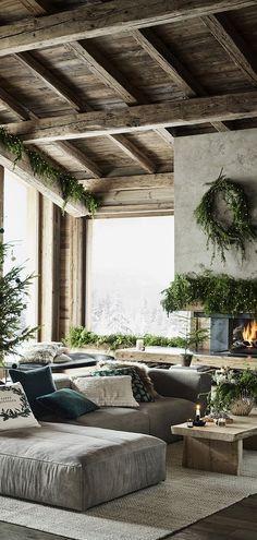 Beautiful rustic Christmas decorating ideas - Home Design Rustic Farmhouse Decor, Country Decor, Farmhouse Ideas, Rustic House Decor, Rustic Houses, Diy Rustic Decor, Rustic Cabins, Log Cabins, Home Design