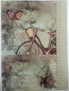 Rice Decoupage Paper / Decoupage Sheets / Scrapbooking / BIKE / Vintage