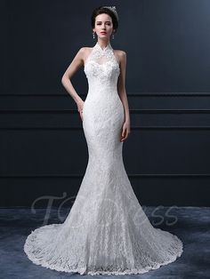 Tbdress.com offers high quality Halter Neck Trumpet/Mermaid Lace Wedding Dress Lace Wedding Dresses unit price of $ 192.84.