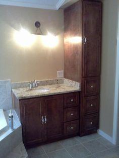 Quarter sawn oak mission style vanity matching linen - Bathroom vanity and medicine cabinet combo ...