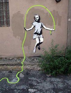 Rope skipping banksy