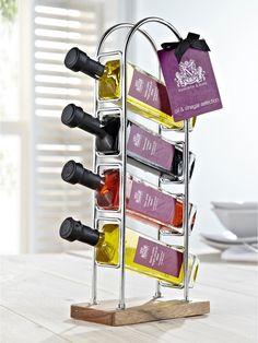 Set of 4 Olive Oil and Vinegar Bottles with Decorati Olive Oil And Vinegar, Olive Oil Bottles, Rose Oil, Balsamic Vinegar, Food Presentation, Wine Rack, Packaging Design, Modern Design, Kids Fashion