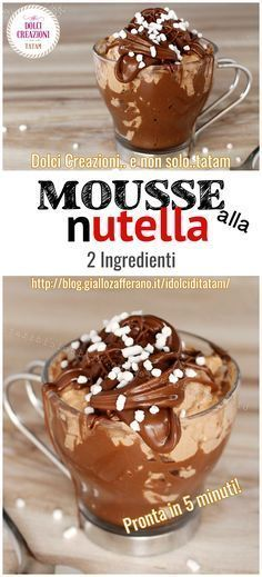 fast nutella mousse with only 2 ingredients Torte Nutella, Nutella Mousse, Chocolate Lasagna, Chocolate Desserts, Nutella Muffin, Soft Chocolate Chip Cookies, Good Food, Yummy Food, Cake Ingredients