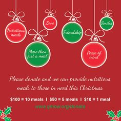 Please donate and we can provide meals to those in need this Christmas $100 = 10 meals www.qmow.org/donate