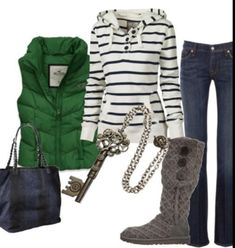love the green vest and the striped hoodie shirt. I want this whole outfit Mode Outfits, Casual Outfits, Fashion Outfits, Womens Fashion, Simple Outfits, Fall Winter Outfits, Autumn Winter Fashion, Casual Winter, Winter Wear