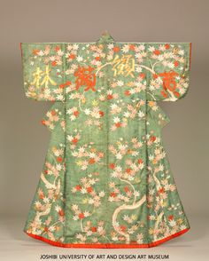 Kosode with mapled and Chinese characters, 18th c, Paste-resist dyeing and embroidery on green figured silk satin (rinzu)