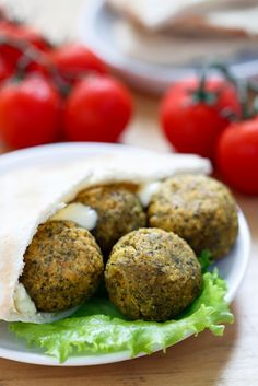 Baked Falafel Balls Recipe - An easy main course with salad stuffed into pita bread. From The Culinary Life