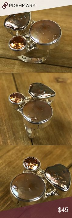 Ring pearl two colors coffee zirconite coffee silver 9.25 Jewelry Rings