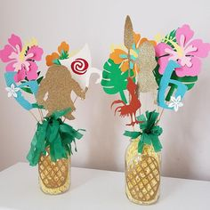 Moana centerpiece decor. Personalized centerpieces for