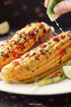 Roasted corn with clarified butter, chili and lime