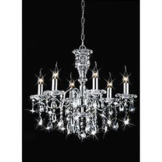 @Overstock - This 6-light chandelier features a chrome finish. The clear crystal accents add elegance to this lighting fixture.