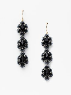 black beaded triple drop earrings by miguel ases