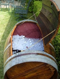 Wine Barrel Ice Chest....while I was looking at this...it could also become a great storage for outside...definitely something dad would do for his dream outdoor patio and grill
